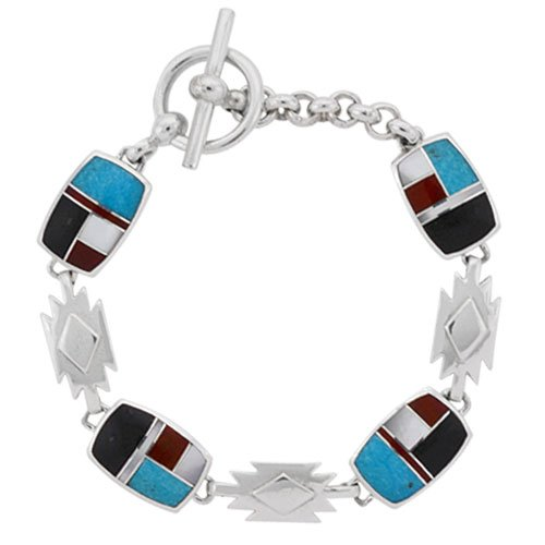 Rectangle 11x16mm Cushion Silver Inlay Rug Link Bracelet