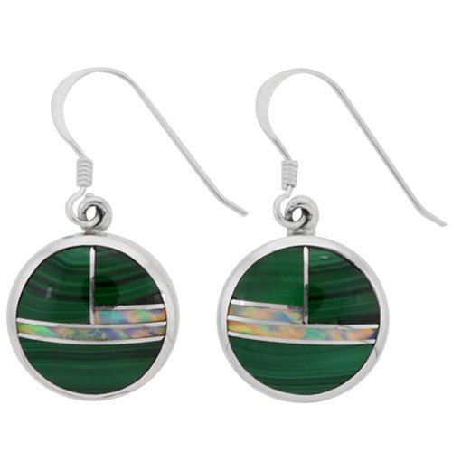 Round 14mm Silver Inlay Earrings