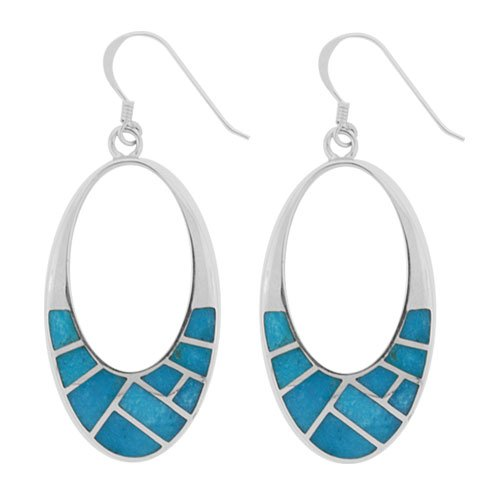 Ellipse Oval Cut Out Silver Inlay Earrings