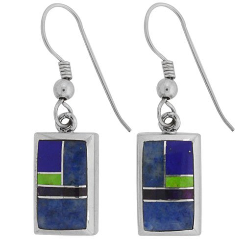 Rectangle Silver Inlay Earrings