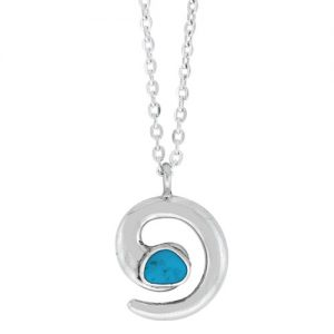 Navajo Silver Swirl of Life with Turquoise Necklace