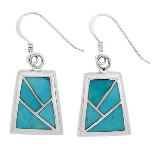 Faux Stained Glass Silver Inlay Earrings
