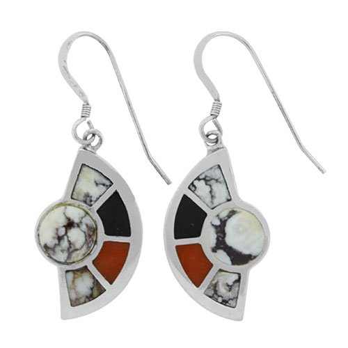 Desert Eclipse Silver Inlay Earrings