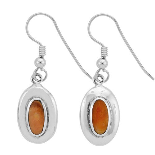 Small Oval Domed Silver Inlay Earrings