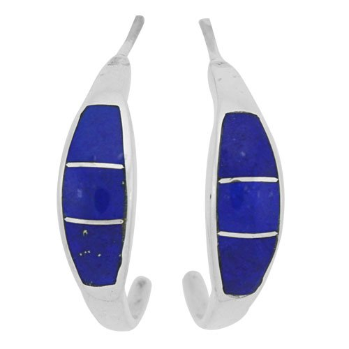 Small Tapered Silver Inlay Hoop Earrings