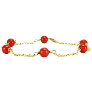 Round Coral Stone Gold Link Bracelet