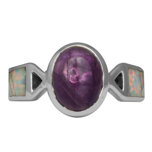 Silver Inlay Ring With Oval Gemstone Accent