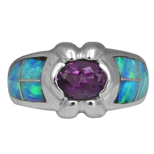 Wide Silver Inlay Ring With 5x7mm Oval Gemstone