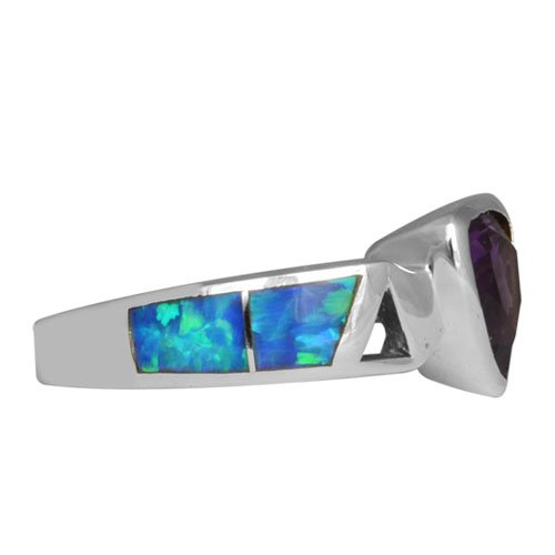 Open Sides Silver Inlay Ring With Trillion Gemstone Accent