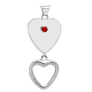 Single Stone Double Heart Pendant