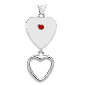 Single Stone Double Heart Pendant
