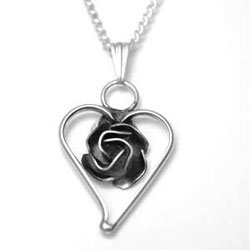 Sterling Silver Center Rose Heart Necklace
