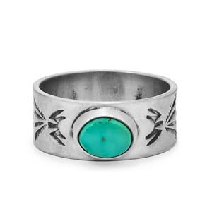 Navajo Mens Single Oval Turquoise Stone Stamped Ring