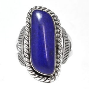 Navajo Oval Lapis Ring By Howard Begay
