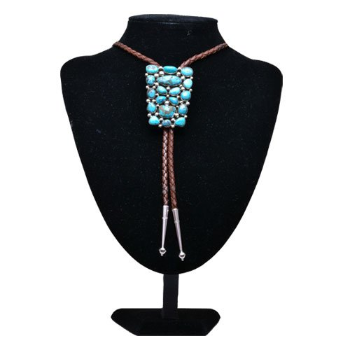 Navajo Kingman Turquoise Cluster Bolo Tie