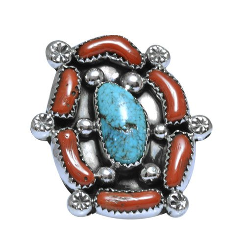 Navajo Two Stone Cluster Ring