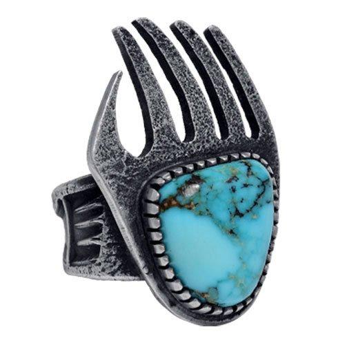 Turquoise Single Stone Bear Print Navajo Ring