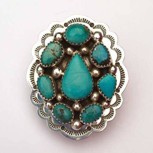Navajo Turquoise Oval Cluster Ring