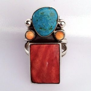 Multi-Stone Center Red Spiny Oyster Navajo Ring