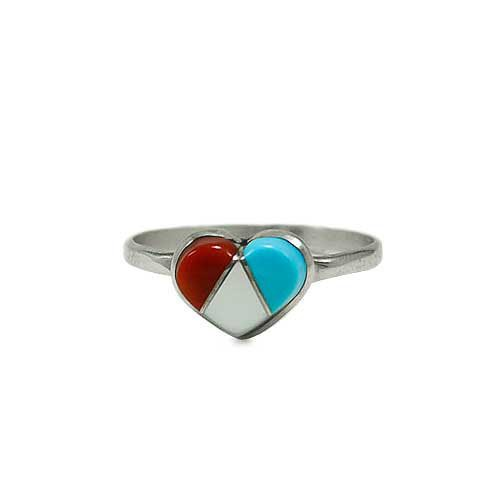 Three Stone Inlay Small Heart Ring