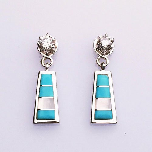 Sterling Silver Inlay Earrings with Cubic Zirconia