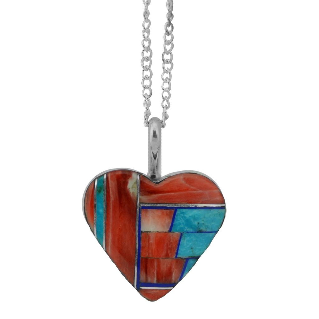 Sterling Silver Three Stone Inlay Heart Necklace