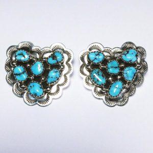 Navajo Cluster Turquoise Heart Earrings