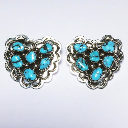 Navajo Cluster Turquoise Heart Earrings