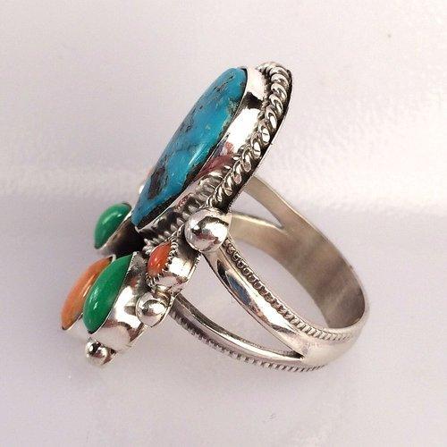Multi-Stone Center Kingman Turquoise Navajo Ring