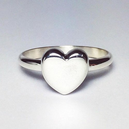 Plain Sterling Silver Heart Ring