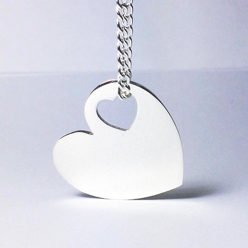 Sterling Silver Heart within a Heart Necklace