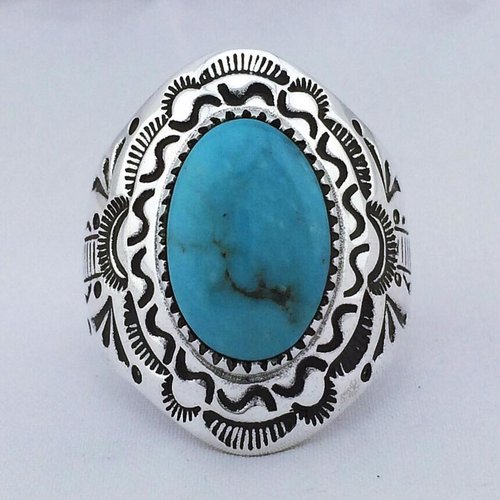 Dancing S-Stamped Navajo Men's Ring