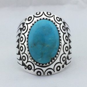 Circle Ray Fan Sterling Silver Navajo Men's Ring