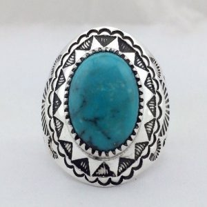 Navajo Sterling Silver One Stone Stamped Men's Ring