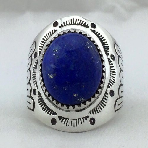 One Stone Fan Stamped Sterling Silver Navajo Men's Ring