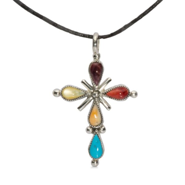 Multi-stone Sterling Silver Cross Necklace