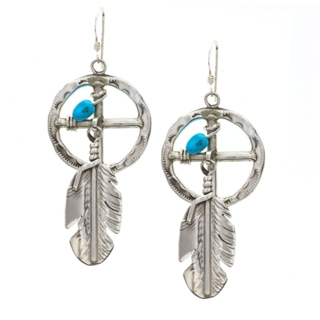 Sterling Silver Navajo Medicine Wheel Turquoise Earrings