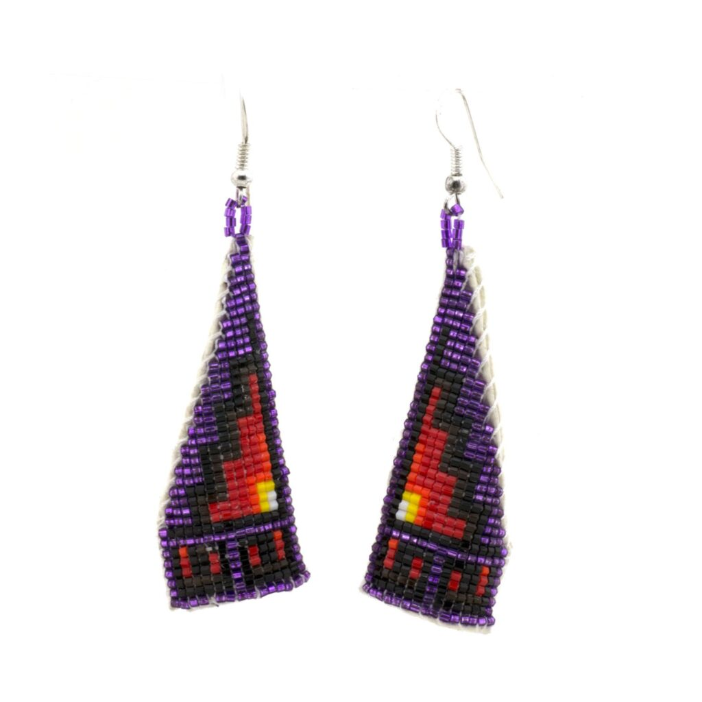 Purple Triangle Beaded Navajo Earrings