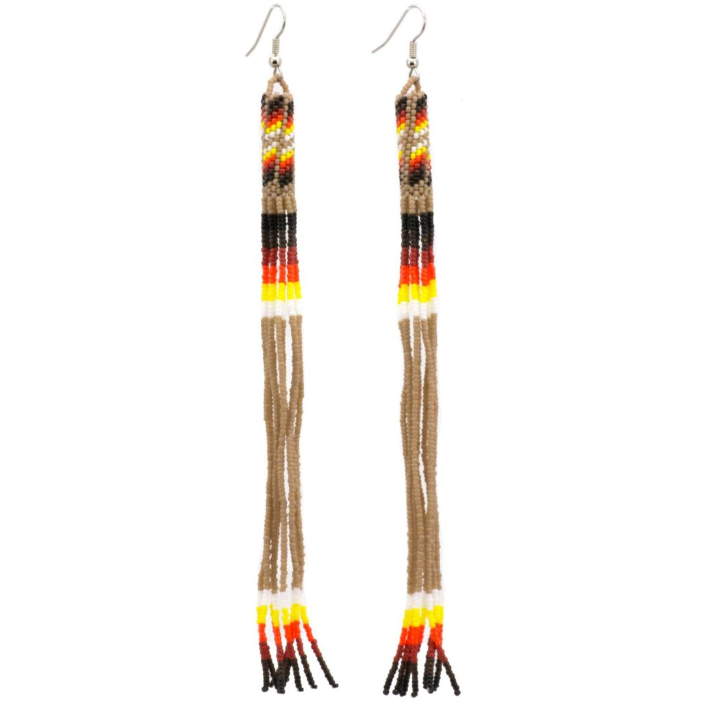 Navajo Beaded Long Dangle Earrings