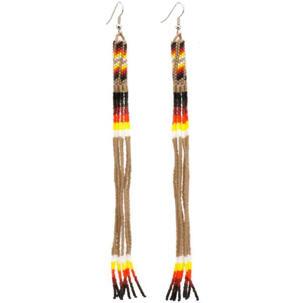 Navajo Beaded Long Dangle Earrings