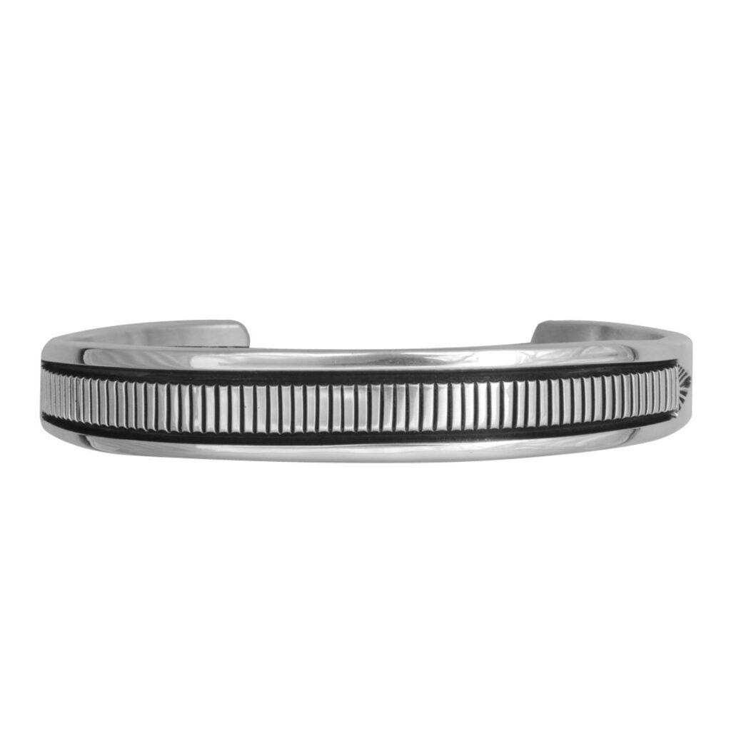 Sterling Silver Vertical Stamped Design Bracelet