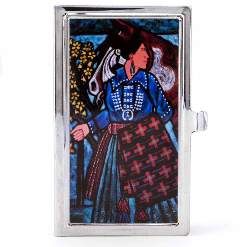 Navajo Woman with her Horse Painting Business Card Case Holder