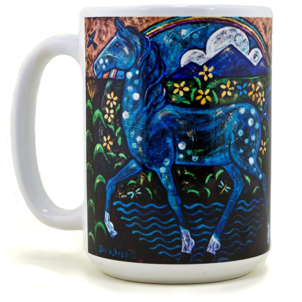 Native American Blue Horse Painting Coffee Mug