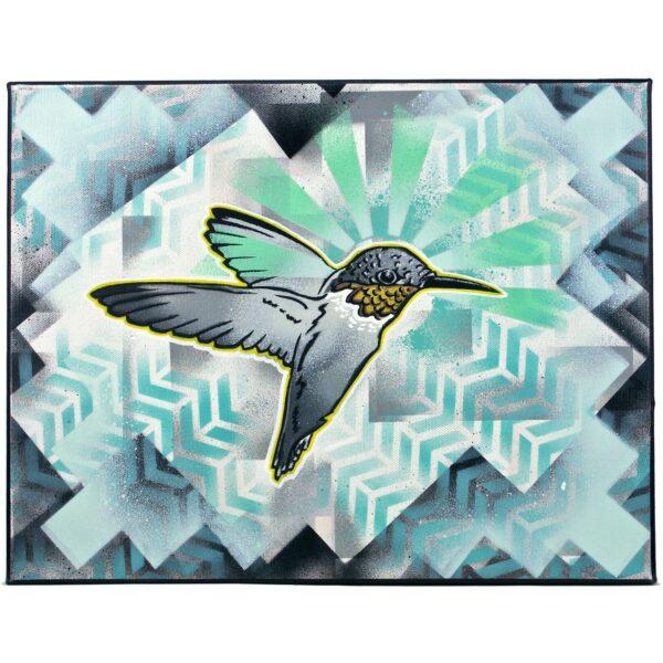 """""""Prism Rainbows"""" Hummingbird Acrylic Navajo Painting"""