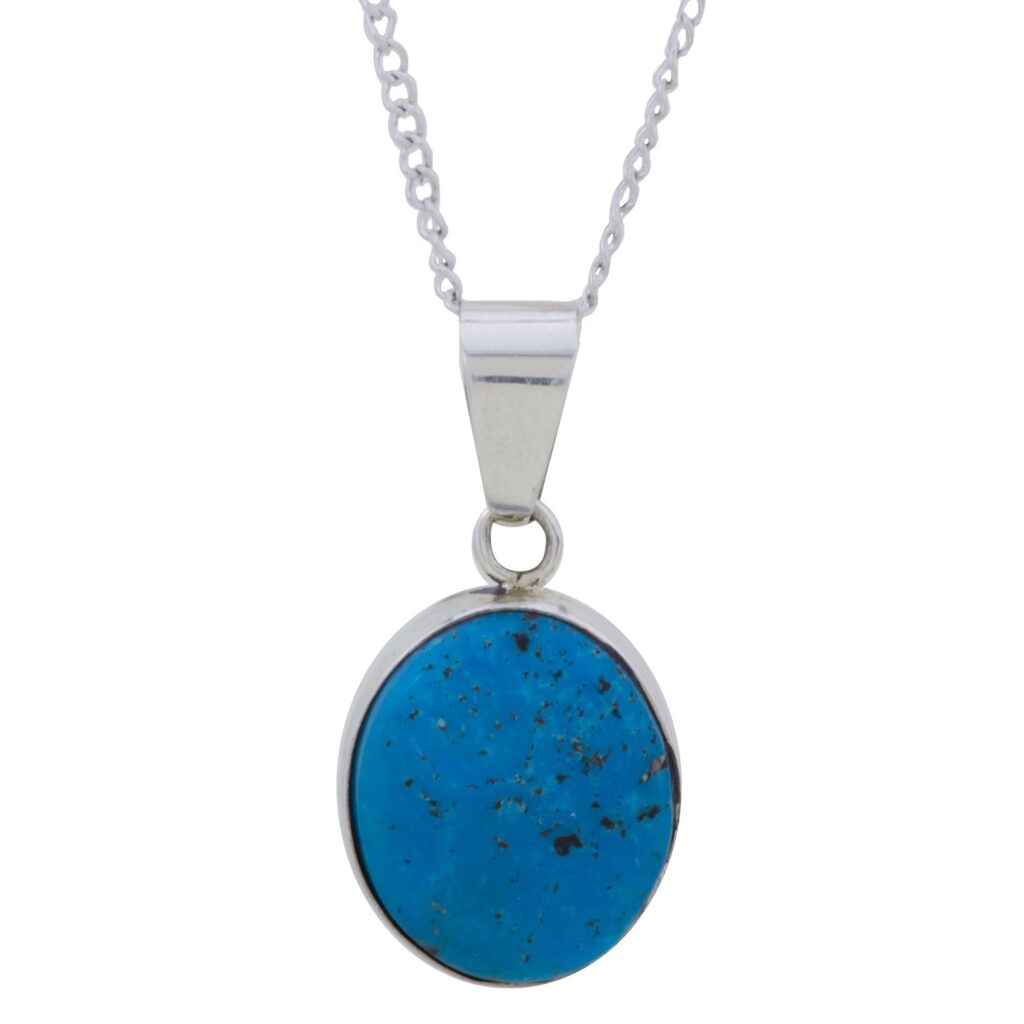 Kingman Turquoise One Stone Sterling Silver Necklace