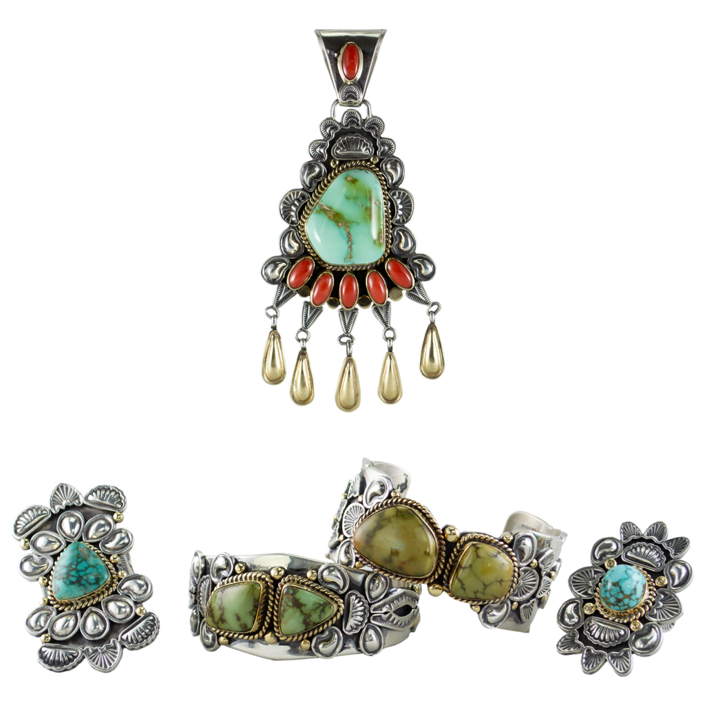 Gilbert Tom 14K Gold and Turquoise Set