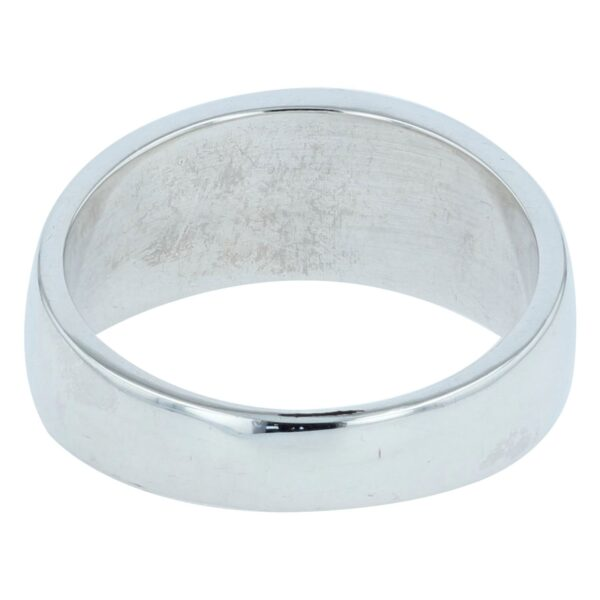 Men's Straight Silver Inlay Band Ring
