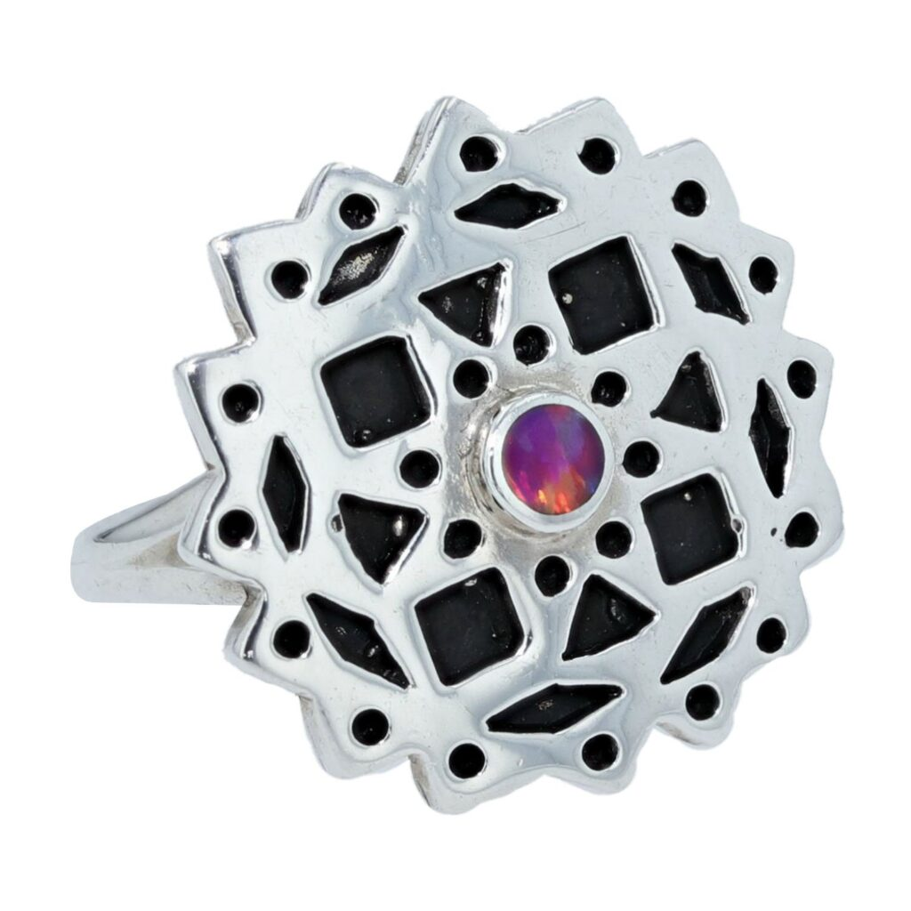 Pink Opal Prism Snowflake Silver Ring