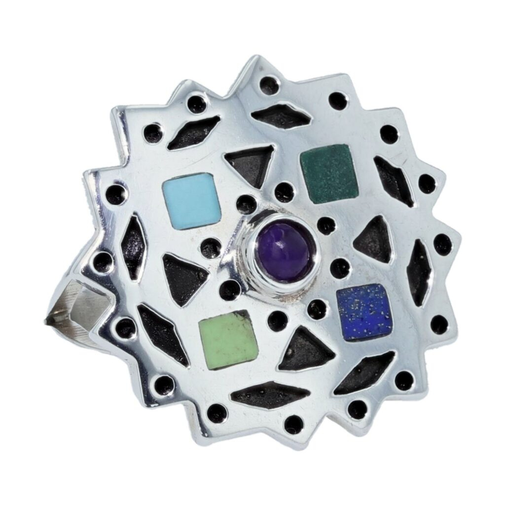 Multi-Stone Inlay Prism Snowflake Silver Ring