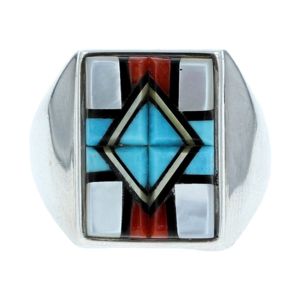 Multi-Cobble Stone with Sterling Silver Ring